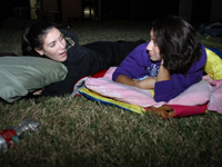Michelle Jabbour and Brittany Garza at the UST SleepOut.