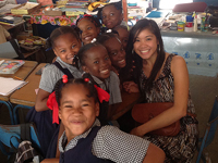 Photo: Grace Chueng and Jamaican students
