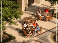 Students working in the Guinan Courtyard