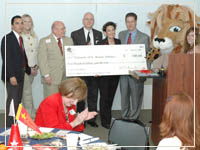 Photo: Alumni Board Check for mascot costume