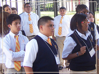 Photo: Cristo Rey students walking Campus Tour
