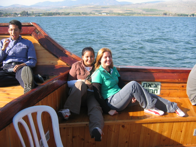 Daisy and Myriam Saldivar enjoy a ride in the Jesus Boat on the sea of Galilee.